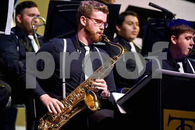 Members of Jazz Ensemble 1 perform during Tyler Junior College's Jazz Festival at Wise Auditorium in Tyler, Texas, on Thursday, March 1, 2018. Special guest artists were Vince DiMartino on trumpet and George Faber on piano. (Chelsea Purgahn/Tyler Morning Telegraph)