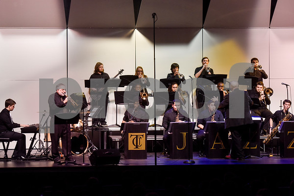 Members of Jazz Ensemble 2 perform during Tyler Junior College's Jazz Festival at Wise Auditorium in Tyler, Texas, on Thursday, March 1, 2018. Special guest artists were Vince DiMartino on trumpet and George Faber on piano. (Chelsea Purgahn/Tyler Morning Telegraph)
