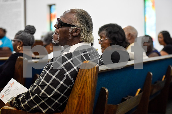 People listen during the ninth annual gospel musical explosion at People's Missionary Baptist Church in Tyler, Texas, on Friday, June 16, 2017. The evening of music featured singers from around Northeast Texas. (Chelsea Purgahn/Tyler Morning Telegraph)