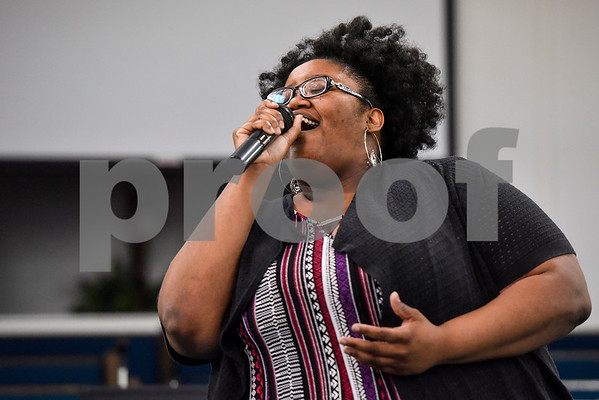 Dominique Ellis sings during the ninth annual gospel musical explosion at People's Missionary Baptist Church in Tyler, Texas, on Friday, June 16, 2017. The evening of music featured singers from around Northeast Texas. (Chelsea Purgahn/Tyler Morning Telegraph)