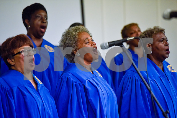 Central Texas Concert Choir members sing during the ninth annual gospel musical explosion at People's Missionary Baptist Church in Tyler, Texas, on Friday, June 16, 2017. The evening of music featured singers from around Northeast Texas. (Chelsea Purgahn/Tyler Morning Telegraph)