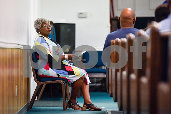 Rosie Johnson listens during the ninth annual gospel musical explosion at People's Missionary Baptist Church in Tyler, Texas, on Friday, June 16, 2017. The evening of music featured singers from around Northeast Texas. (Chelsea Purgahn/Tyler Morning Telegraph)