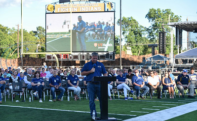 Jacksonville ISD Superintendent Dr. Chad Kelly addresses the crowd at the Ribbon Cutting for the newly renovated Tomato Bowl on Friday, June 7 which included a free admissions concert by country singer and Jacksonville native Neal McCoy. (Jessica T. Payne/Tyler Morning Telegraph)