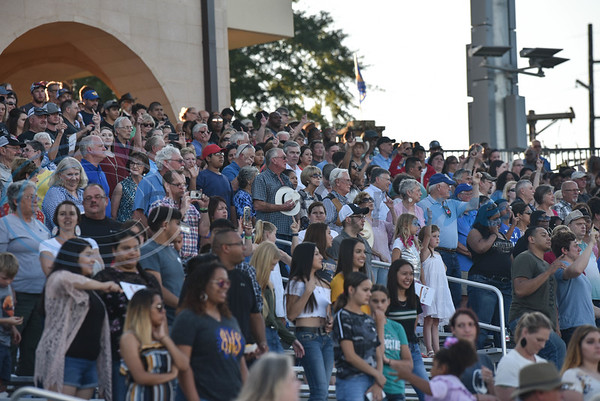 People filled the stands at the Tomato Bowl for its Grand Re-Opening and Ribbon Cutting on Friday, June 7 which included a free admissions concert by country singer and Jacksonville native Neal McCoy. (Jessica T. Payne/Tyler Morning Telegraph)