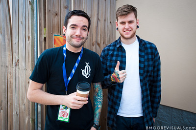 Jeremy McKinnon and Neil Westfall of A Day To Remember hang out backstage on December 3, 2011 during 97X Next Big Thing at 1-800-ASK-GARY Amphitheatre in Tampa, Florida