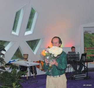 Richard Shulman with flowers for the cast of his musical