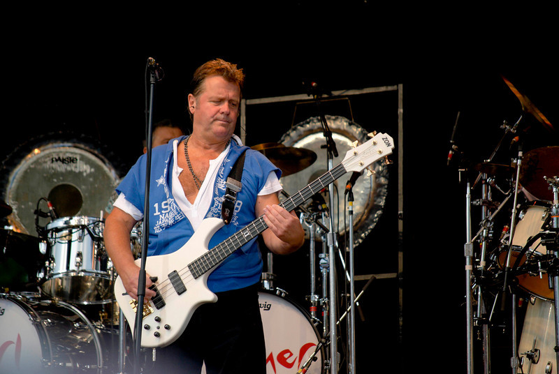 John Wetton lead singer and bass guitar player of Asia live at Great Adventure in Jackson NJ on July 26, 2009.