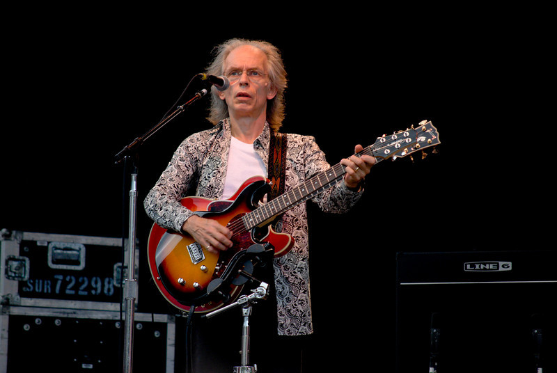 Steve Howe of Yes and Asia onstage at Great Adventure in Jackson NJ, on July 26, 2009.<br /> This photo was from the Asia set.