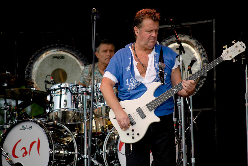 Carl Palmer on drums and John Wetton on bass for Asia live at Great Adventure on July 26, 2009 in Jackson, NJ.