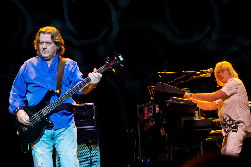 Lead vocalist and bass guitarist John Wetton and keyboardist Geoff Downes on stage at THe Count Basie Theater in Red Bank, NJ during the 2012 World Tour.
