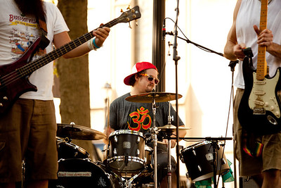 Aaron Kamm and The One Drops perform live as part of a summer concert series at Strauss Park in Grand Center