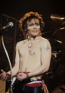 Adam Ant of 1980's English Pop Music Group Adam and The Ants performs live in concert at The Palladium Theater, New York City, 1981 on the English band's first tour of the United States Photo ©Laurie Paladino 1981 AdamAnt_lp_1013