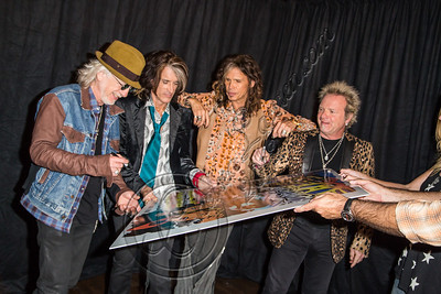WEST HOLLYWOOD, CA - SEPTEMBER 18:  (L-R) Guitarist Brad Whitford, guitarist Joe Perry, vocalist Steven Tyler and drummer Joey Kramer of Aerosmith attend the Aerosmith press conference at House of Blues Sunset Strip on September 18, 2012 in West Hollywood, California.  (Photo by Chelsea Lauren/WireImage)