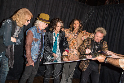 WEST HOLLYWOOD, CA - SEPTEMBER 18:  (L-R) Bassist Tom Hamilton, guitarist Brad Whitford, guitarist Joe Perry, vocalist Steven Tyler and drummer Joey Kramer of Aerosmith attend the Aerosmith press conference at House of Blues Sunset Strip on September 18, 2012 in West Hollywood, California.  (Photo by Chelsea Lauren/WireImage)
