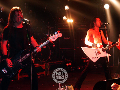 Justin Street and Joel O'Keeffe sing another Airbourne song at the HiFi.