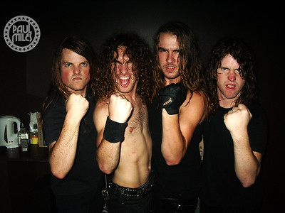 Airbourne in their dressing room two minutes before hitting Melbourne's HiFi stage for their final Australian show before moving overseas.