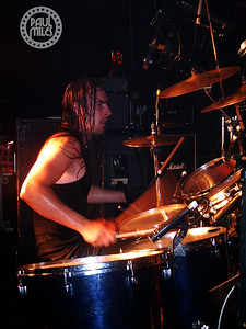 Side of stage with Airbourne drummer Ryan O'Keeffe.