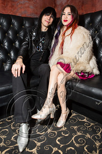 HOLLYWOOD, CA - NOVEMBER 09:  Guitarist Zachary James (L) and singer Alexandra Starlight pose backstage at The Hotel Cafe on November 9, 2012 in Hollywood, California.  (Photo by Chelsea Lauren/WireImage)