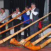 NENDAZ, SWITZERLAND – JULY 24: Finalists 'Ensemble romand de cor des alpes' performing at the 10th International Festival of Alpine horns :  July 24, 2011 in Nendaz Switzerland