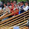 NENDAZ, SWITZERLAND – JULY 24: Closing ceremony of the 10th International Festival of Alpine horns :  July 24, 2011 in Nendaz Switzerland