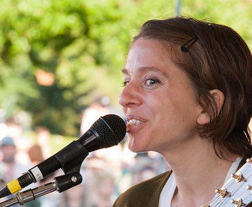 Ani Difranco on Rainbow Stage at Clearwater Festival.