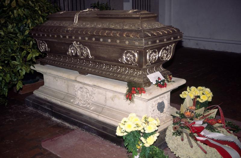 Bruckner's coffin in the crypt
