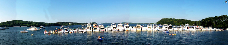 I pieced together a panoramic to try and show just HOW MANY boats were around us.  This was only one side!  It was WILD.