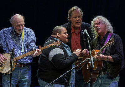 Pete Seeger, Toshi Reagon, Tom Chapin and Arlo Guthrie.  Symphony Space, NYC, 2011.