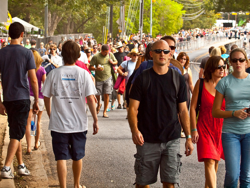 """""""Crowds arrived all day along Barton Springs Road""""<br /> Austin City Limits Music Festival 2009<br /> Friday, October 2, 2009<br />  <a href=""""http://www.aclfestival.com/default.aspx"""">http://www.aclfestival.com/default.aspx</a><br /> Photos Courtesy of Sean Murphy © 2009"""