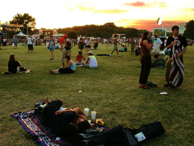 Sunset over ACL Fest 2004.