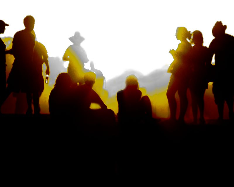 Setting sun and rising dust provided the backdrop for these silhouettes of ACL festival attendees.