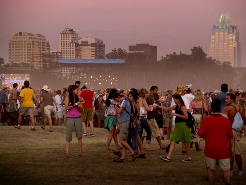 ACL Festival 2005 set against an Austin skyline and sunset.