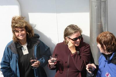 Trisha, LInda and Marsha toast the beginning of our latest adventure.