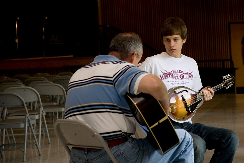 Father and Son getting ready for Mandolin Contest