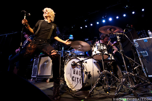 Tom Schleiter, Josh Caddy, and Kevin Kane of Bad City perform on July 21, 2010 at The Ritz in Ybor City, Tampa, Florida