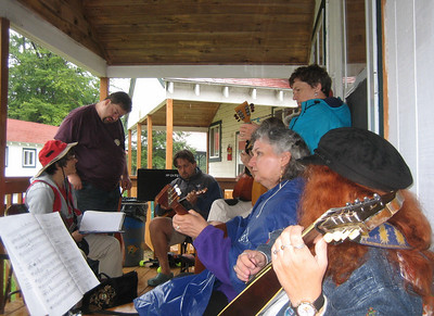 Rehearsing Russian music on the porch of Cabin 8.