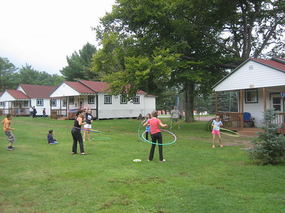 Hula hoops are popular at camp