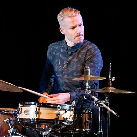 Anton Eger of Phronesis performing at the Mumford Theatre as part of Cambridge Jazz Festival 2018.