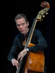Jasper Hoiby of Phronesis performing at the Mumford Theatre as part of Cambridge Jazz Festival 2018.