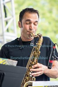The SUNY Fredonia Latin Jazz Ensemble on stage at the Lewiston Jazz Festival, August 23, 2014 in Lewiston, NY.