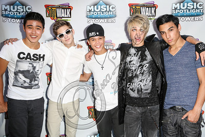 UNIVERSAL CITY, CA - AUGUST 31:  (L-R) Singers Will Jay, Cole Pendery, Dana Vaughns, Dalton Rapattoni and Gabriel Morales of IM5 arrive at Universal CityWalk's free music spotlight series at 5 Towers Outdoor Concert Arena on August 31, 2012 in Universal City, California.  (Photo by Chelsea Lauren/WireImage)