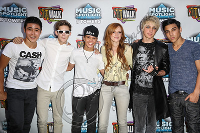 UNIVERSAL CITY, CA - AUGUST 31:  (L-R) Singers Will Jay, Cole Pendery, Dana Vaughns, Bella Thorne, Dalton Rapattoni and Gabriel Morales of IM5 arrive at Universal CityWalk's free music spotlight series at 5 Towers Outdoor Concert Arena on August 31, 2012 in Universal City, California.  (Photo by Chelsea Lauren/WireImage)