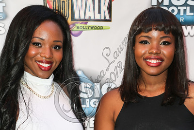 UNIVERSAL CITY, CA - AUGUST 31:  Singers Ivana Nwokike (L) and Jessica Nwokike of VanJess arrive at Universal CityWalk's free music spotlight series at 5 Towers Outdoor Concert Arena on August 31, 2012 in Universal City, California.  (Photo by Chelsea Lauren/WireImage)