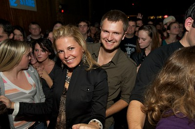 Candace Klein and Jon Harmon of Cincinnati secure a front row position at Bogarts Wednesday to see Ben Folds
