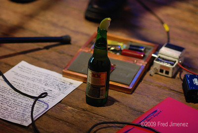 Tools of the Trade.  Set list,picks, tuner, capo, slide and......Dos Equis(dressed)
