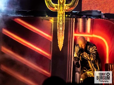 Judas Priest playing the main Ronnie James Dio stage on the opening night at Bloodstock 2018. Featuring Rob Halford, Glen Tipton, Ian Hill, Richie Faulkner