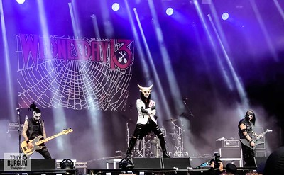 Wednesday 13 the death loving, grave robbing, macabre, halloween dark metal, horror punk masters from Charlotte, North Carolina, USA play the main Ronnie James Dio stage at Bloodstock 2018. Featuring Wednesday 13, Roman Surman, Jack Tankersley, Troy Doebbler and Kyle Castronovo.