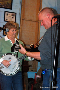 Mona Jo Griffin (banjo) and Randy Whitley (guitar) improvising with the Dueling Banjos song.