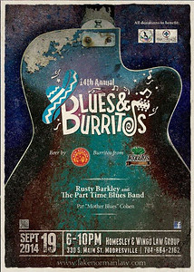 14th Annual Blues & Burritos flyer Homesley & Wingo Law Group - next to the Library in Mooresville, NC Friday, September 19, 2014. Cobble Creek opens.  Part Time Blues Band, Shelia Carlisle and Pat (Mother Blues) Cohen