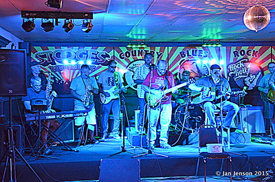 Scott McFarlane, Mike Taylor, Roger Kolfta, Richard Strube, Jim Snyder, Emanual Wynter (behind Jim), Doug Blomstrom (drums), Darren Wachman, Jim Coobs  Shades Of Blue - Rockin' Blues Jam @ Stooges, Mint Hill, NC 6-17-15